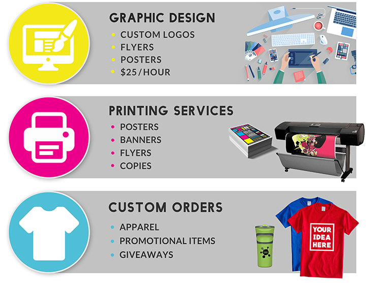 What we offer is graphic design, printing services, and even custom orders!