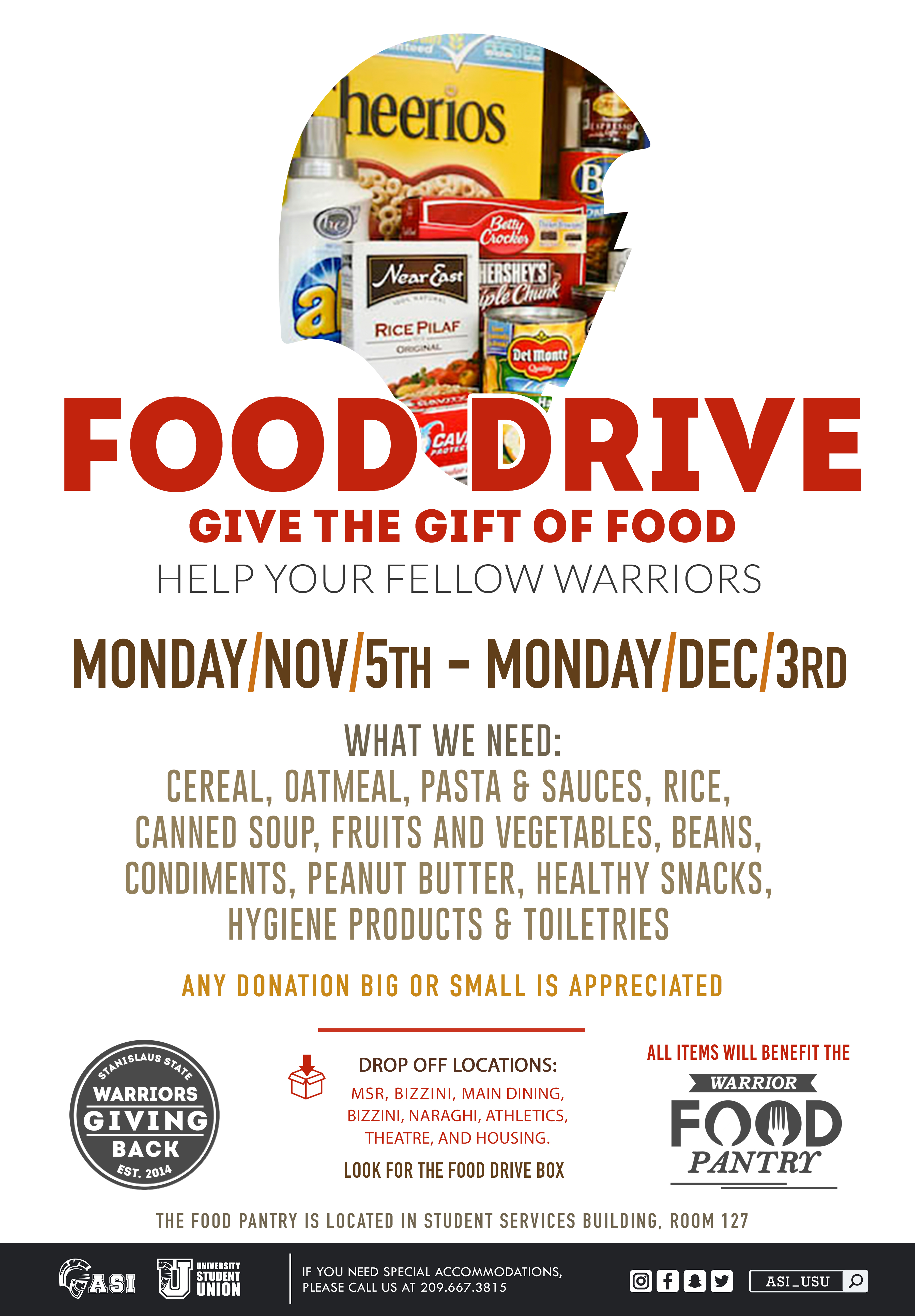 Warrior Food Drive Flyer