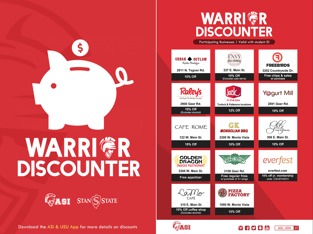 Image with a red background and a piggy bank with the words Warrior Discounter; participation business | valid with student ID; and list of businesses