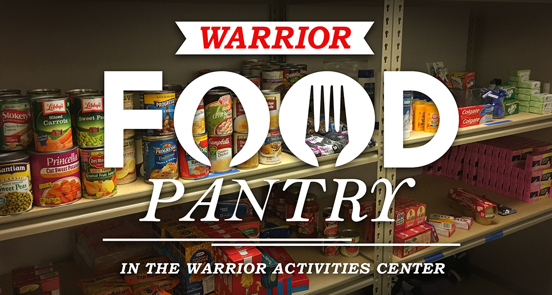 Food Pantry Banner image with words Warrior Food Pantry in the warrior activities center